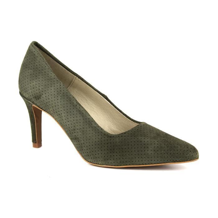 PIERRE CARDIN Escarpins en cuir talons 7 cm - Femme - Vert kaki WaPJqYNmm