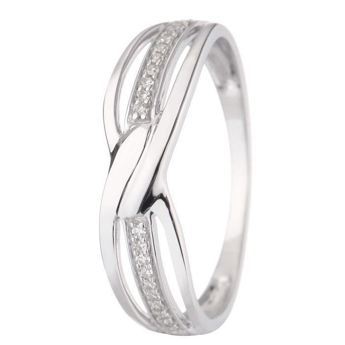 3bc260d9b54 LE DIAMANTAIRE Bague Or Blanc 375° et Diamants Femme Argenté - Achat ...