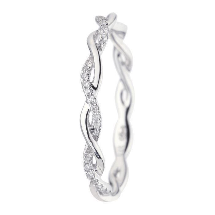 50cd9035d76 LE DIAMANTAIRE Alliance Or 375° et Diamants Femme Argenté - Achat ...
