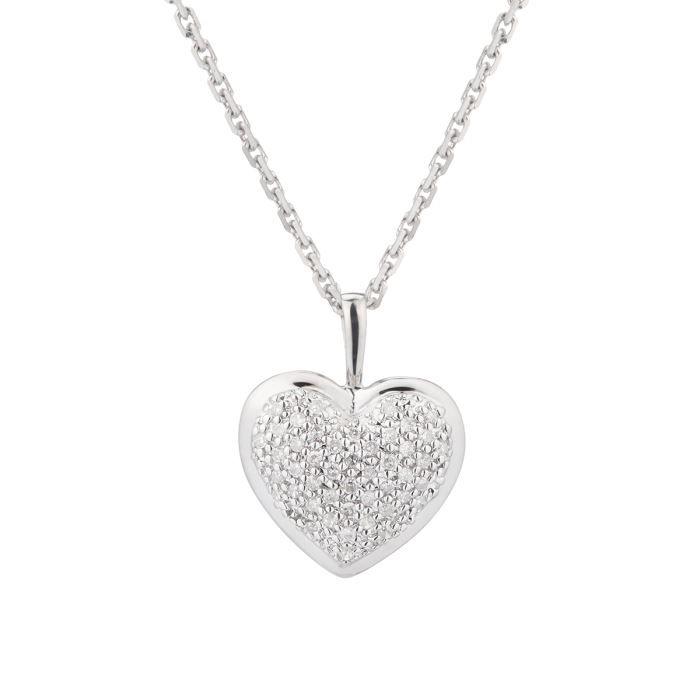 le diamantaire collier avec pendentif c ur or blanc 375 et diamants femme argent achat. Black Bedroom Furniture Sets. Home Design Ideas