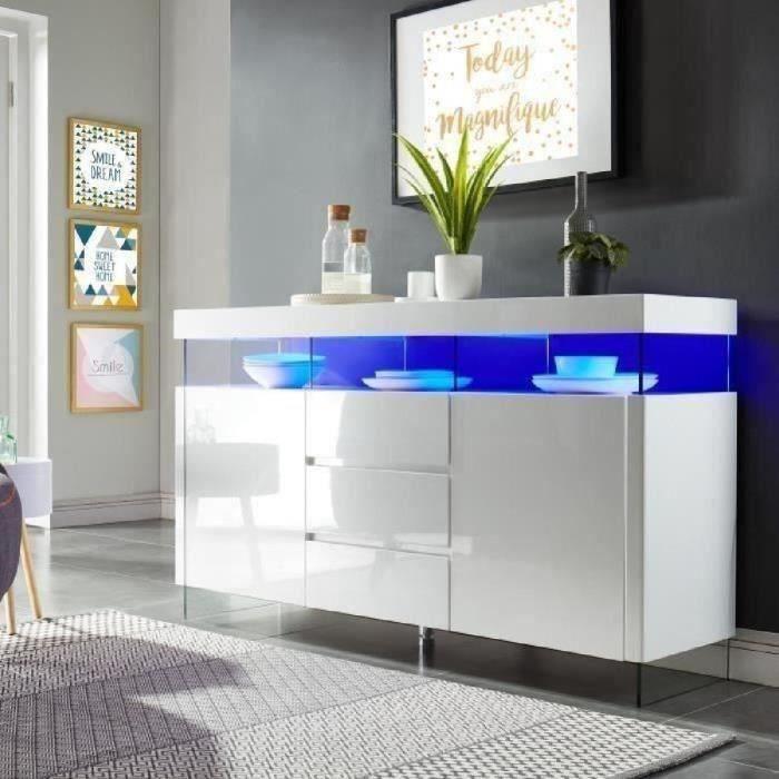 Buffet bahut design blanc laque - Achat   Vente pas cher f932f7ab213e