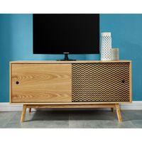 COLETTE Meuble TV scandinave pieds bois massif plaqué frêne et imprimé - L 120 cm