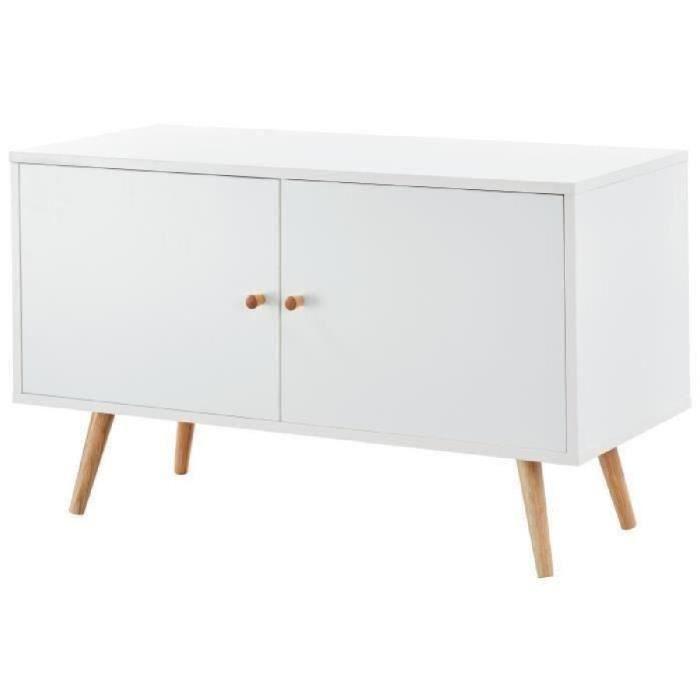 MEUBLE TV ANNETTE Meuble TV scandinave décor blanc + pieds e