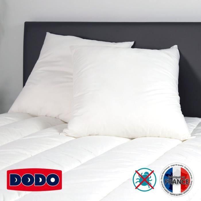OREILLER DODO Lot de 2 oreillers DETENTE 60x60cm blanc