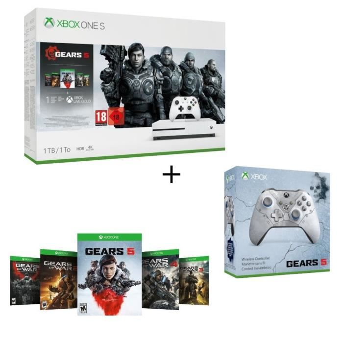 CONSOLE XBOX Xbox One S 1 To + 5 jeux Gears of War + 1 mois d'e