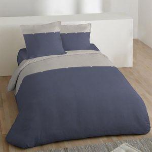 Housse couette 220 240 coton bleu achat vente pas cher - Housse de couette coton lave ...