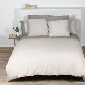 a9995f1df53d8 COTE DECO Housse de couette 100% coton lavé 240x260 cm - Blanc ficelle et  gris