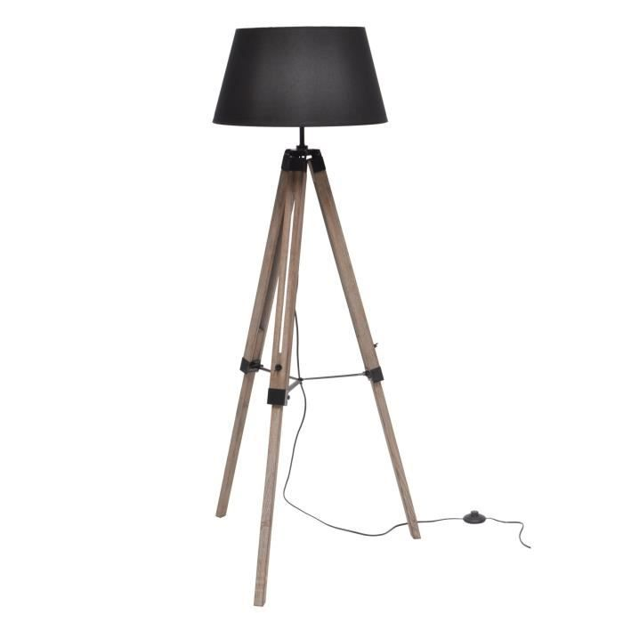 lampadaire poser nature e27 40 w noir achat vente nature lampadaire bois noir noir tissu. Black Bedroom Furniture Sets. Home Design Ideas