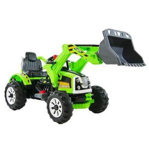 VOITURE ENFANT E-ROAD Tracteur éléctique enfant avec grue - Vert
