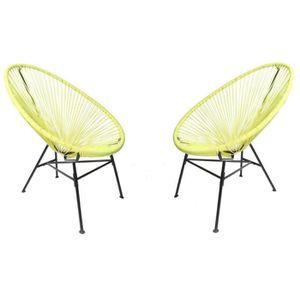FAUTEUIL JARDIN  Lot 2 fauteuils  MANILLE Vert - 83 x 73 x 91 cm