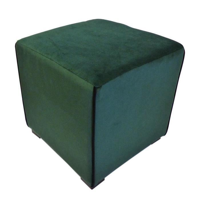 POUF - POIRE Pouf carré velours Harry - 35 x 35 cm - Vert émera