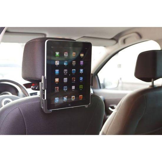 """2nd Utilisation Possible sur Un Si/ège de Voiture pour iPad et Samsung pour Tablettes de 7/""""a 10/"""" Noire Support de Tablette Repose Tete iPad 360/° Ajustable"""
