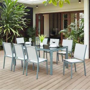 SALON DE JARDIN  TAHITISET2 Ensemble table avec plateau en verre tr