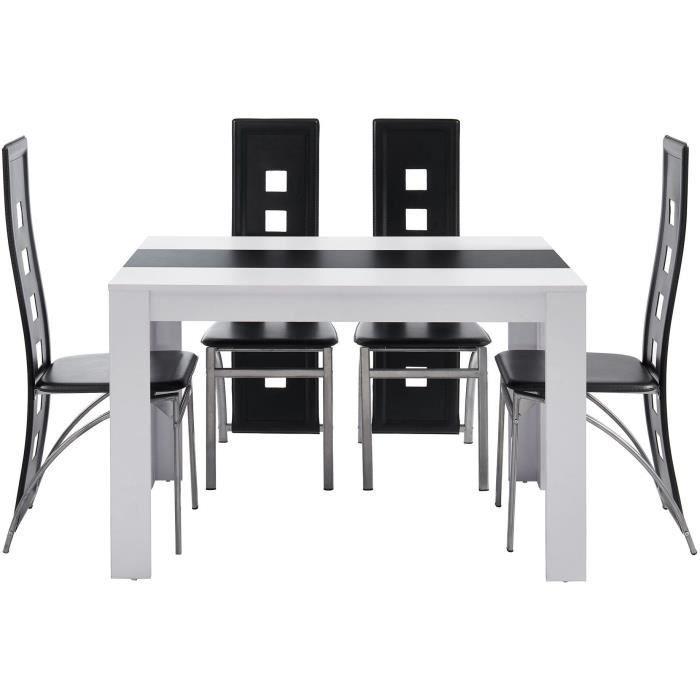 DAMIA Ensemble table à manger + 4 chaises blanc et noir melaminé - L 120 x  l 80 x H 75 cm
