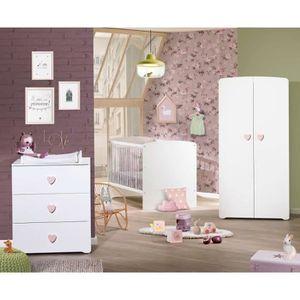 CHAMBRE COMPLÈTE BÉBÉ BABY PRICE Rose Cœur Chambre Complète - Lit Evolut