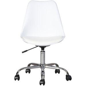 CHAISE DE BUREAU BLOKHUS Chaise de bureau - Simili blanc - Style co