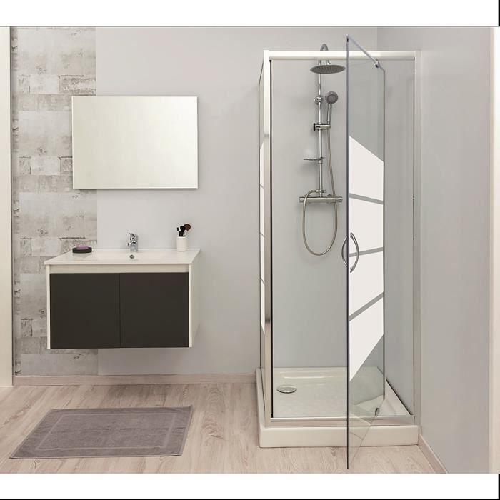 Aqua paroi de douche fixe lucy 80 cm verre tremp 5 - Porte de douche avec paroi fixe ...