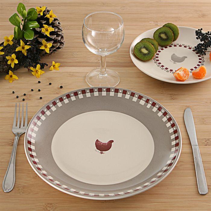 service de table motif poule