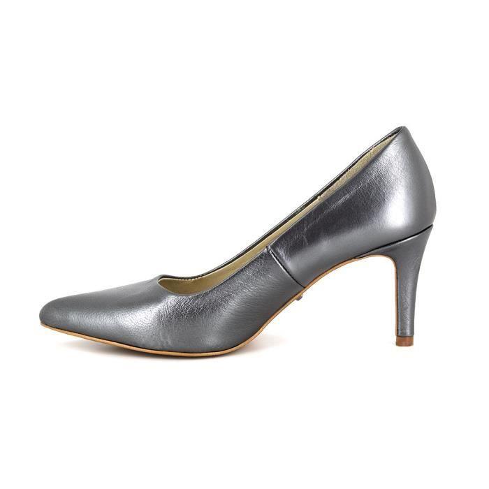 PIERRE CARDIN Escarpins en cuir talons 7 cm - Femme - Gris