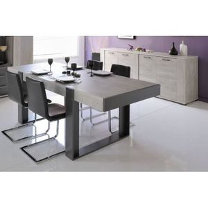 Salle manger compl te gris achat vente salle for Salle a manger complete grise pas cher