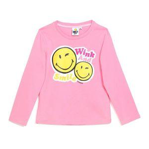 7ed4ab0009d00 T-SHIRT SMILEY T-Shirt Fuchsia Sérigraphié Enfant Fille