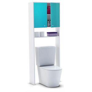COLONNE - ARMOIRE WC CORAIL Meuble WC ou machine à laver L 63 cm - Bleu