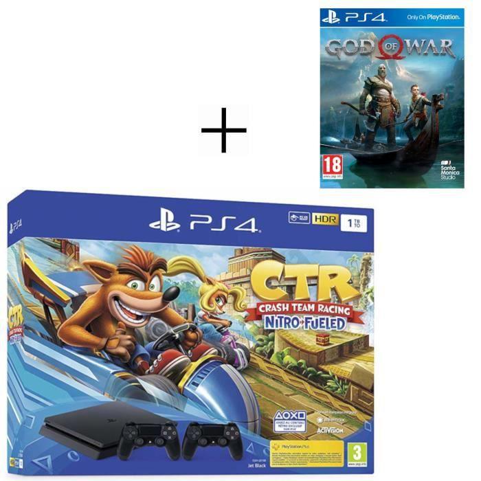 CONSOLE PS4 Pack PS4 1 To Noire + Crash Team Racing + 2ème man