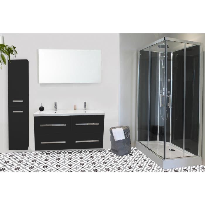 NUEVO Salle de bain complète double vasque L 120 cm - Gris ...