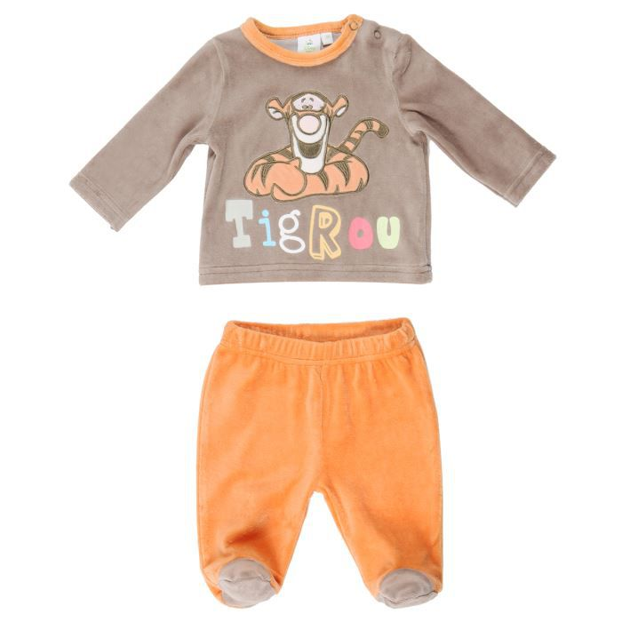 32b17577c8a18 BÉBÉ RÊVE Pyjama Velours Bébé Fille Marron et orange - Achat   Vente ...