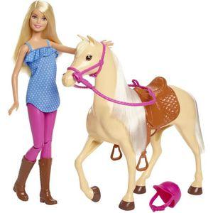 POUPÉE BARBIE - Barbie & son Cheval - Coffret Poupée - Co