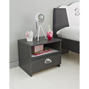 CHEVET ROCK Chevet classique décor gris ombre et rose dra