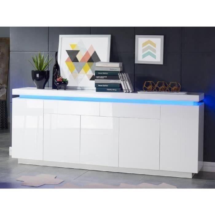 flash buffet bas avec led contemporain blanc laqu brillant l 206 cm achat vente buffet. Black Bedroom Furniture Sets. Home Design Ideas