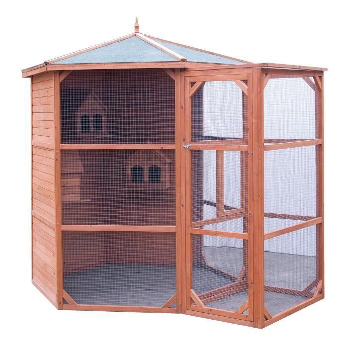 Voli re grande taille toit bitum 4 5m pour 6 10 for Oiseau de voliere exterieur