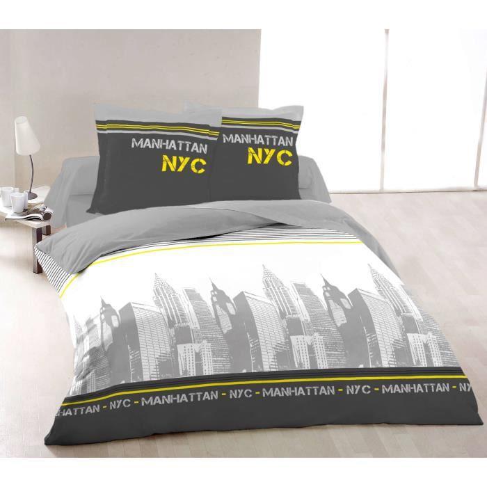 Vision parure de couette new york 100 coton 1 housse de - Housse de couette grise et jaune ...