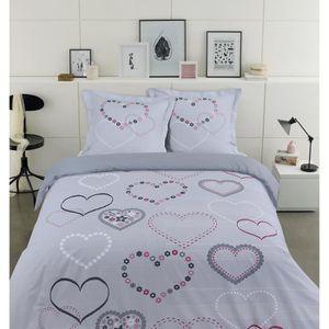 vision parure de couette valentine 100 coton 1 housse de couette 240x260cm 2 taies d. Black Bedroom Furniture Sets. Home Design Ideas