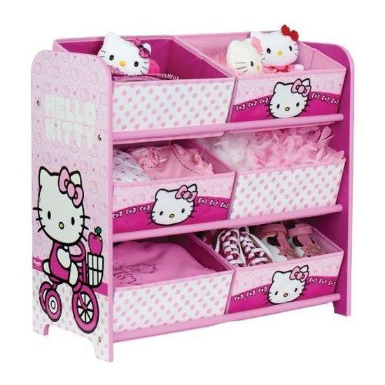 Charmant Meuble De Rangement Enfant Hello Kitty à 6 Paniers