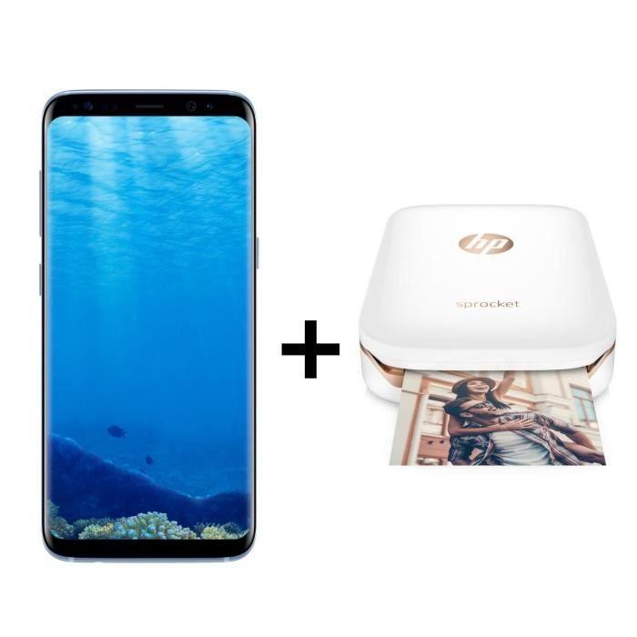Samsung Galaxy S8 Bleu + Imprimante photo de poche HP - Achat ... 616cb5e7c375