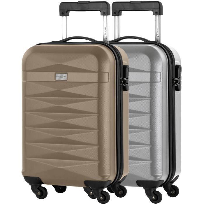 50fd247d69 MANOUKIAN Lot de 2 valise cabine - ABS 4 roues - Champagne/argent ...