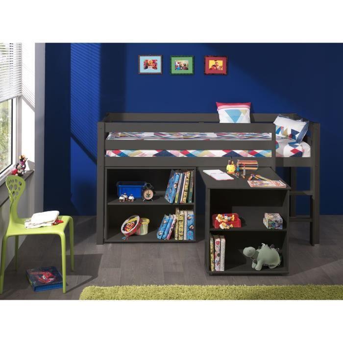 PINO Lit mezzanine + bureau + bibliothèque gris - Achat / Vente lit ...