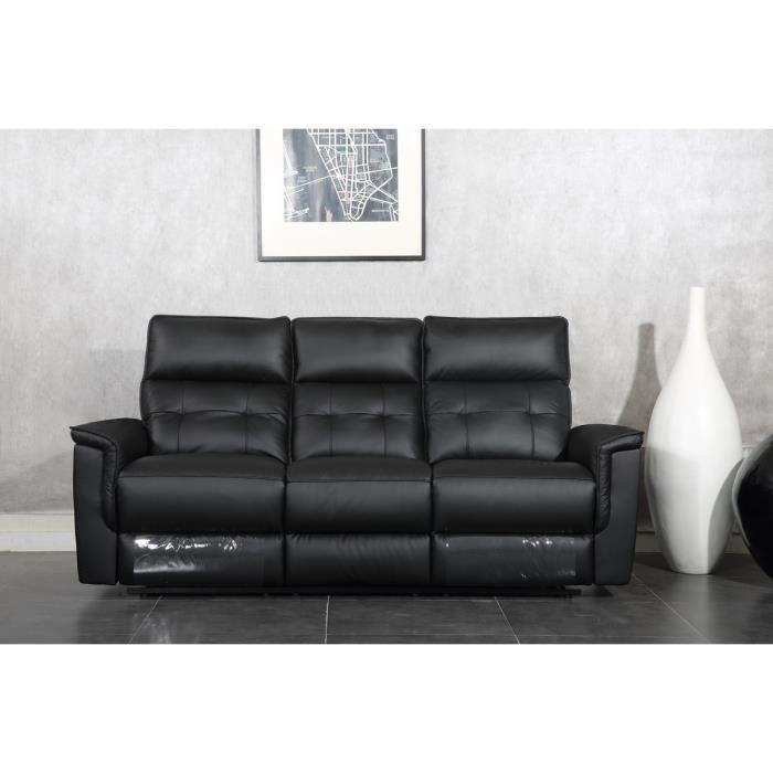 MILLESIME Canapé droit de relaxation en cuir 3 places 210x93x103