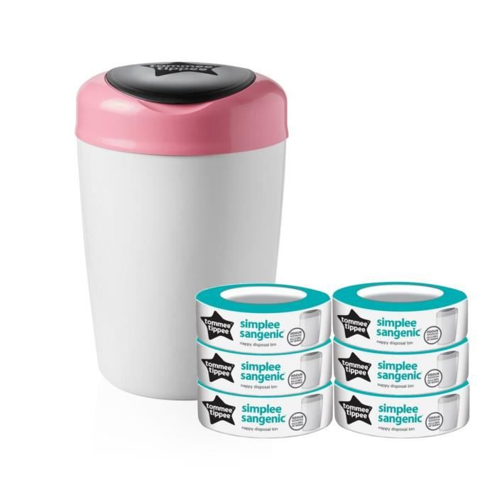 Tommee Tippee Starter Pack Sangenic Simplee 1 Bac Rose 6