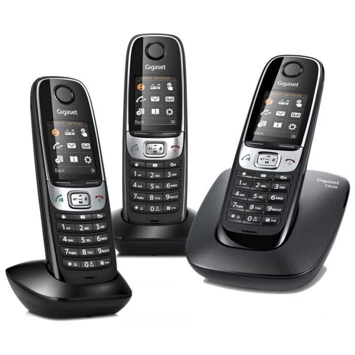 gigaset c620 trio noir achat t l phone fixe pas cher. Black Bedroom Furniture Sets. Home Design Ideas