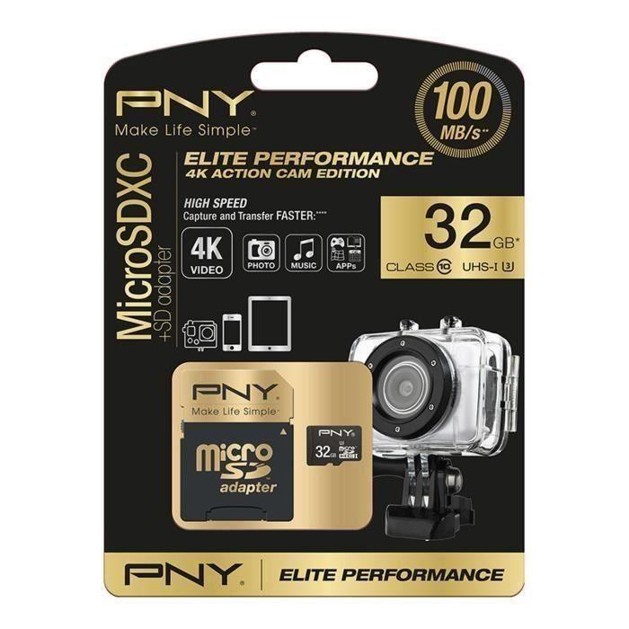 CARTE MÉMOIRE PNY Elite Performance Carte Mémoire Micro SDHC 32
