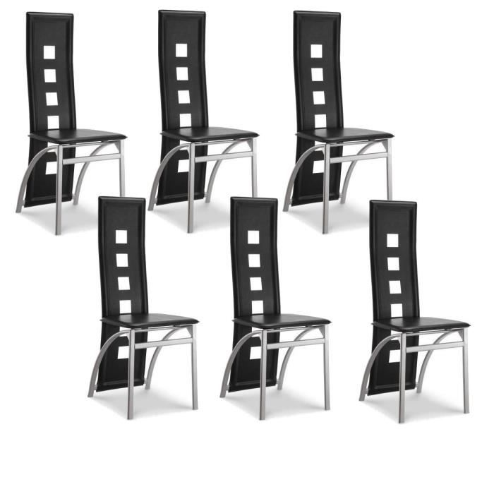EIFFEL lot de 6 chaises de salle à manger noires simili et ...