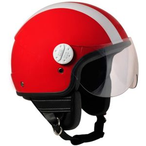 CASQUE MOTO SCOOTER CGM CASQUE JET 109G MIAMI 2 BANDES ROUGE BLANC