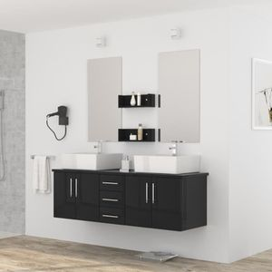 SALLE DE BAIN COMPLETE DIVA Ensemble salle de bain double vasque L 150 cm
