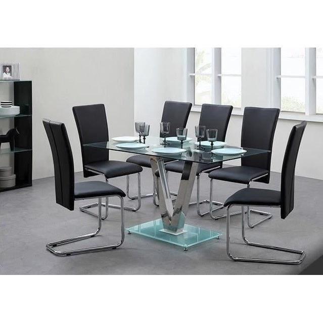 AGORA Ensemble Table A Manger De 4 6 Personnes Chaises Contemporain En Metal Et Verre Trempe Noir