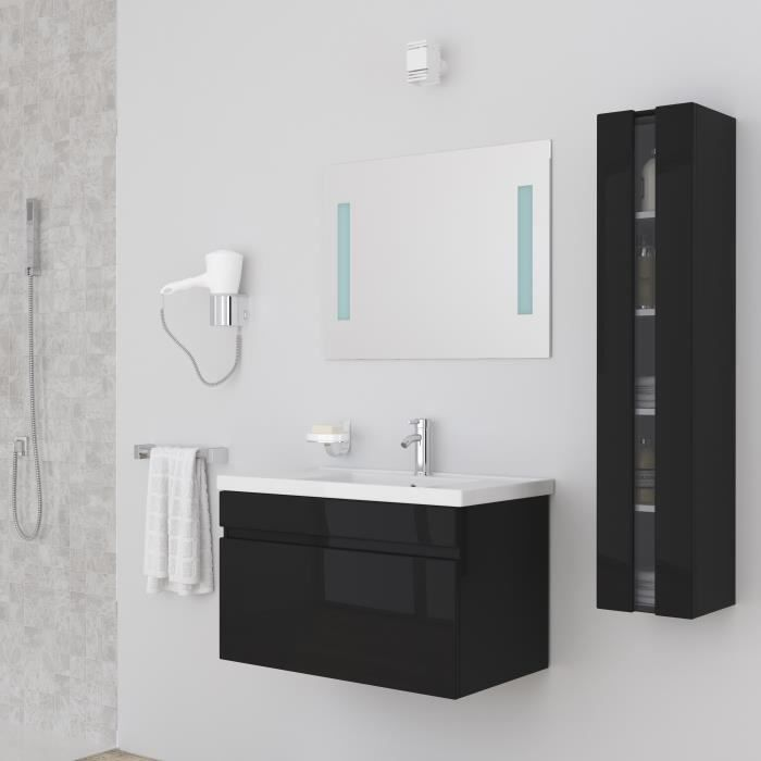 meuble salle de bain noir achat vente meuble salle de. Black Bedroom Furniture Sets. Home Design Ideas