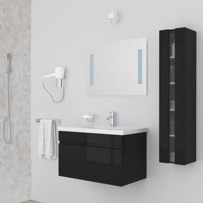 Meuble salle de bain noir achat vente meuble salle de for Meuble salle de bain laque pas cher
