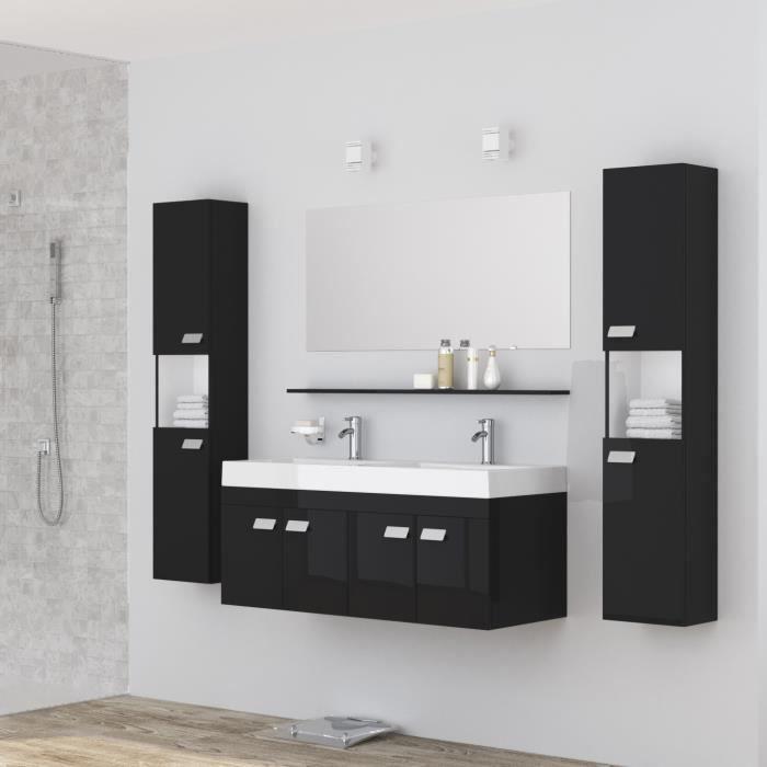 meuble salle de bain noir laqué 120